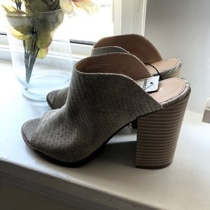 NWT Express Slip On Snake Skin Block Heels